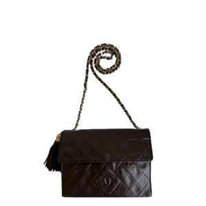 Chanel Brown Leather Vintage CC Tassel Flap Bag