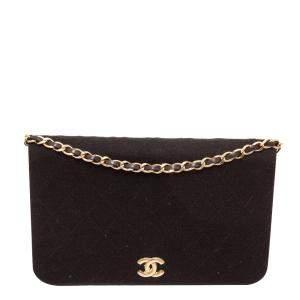 Chanel Black Jersey Vintage CC Flap Bag