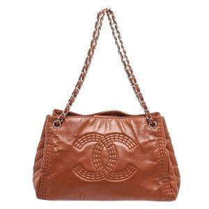 Chanel Brown Leather Coco Bengal Accordion Tote Bag