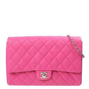 Chanel Pink Lambskin Leather Single Flap Bag
