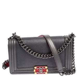 Chanel Grey Cube Embossed Leather Medium Boy Flap Bag
