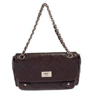 Chanel Brown Quilted Caviar Leather Reissue Flap Shoulder Bag