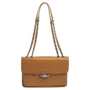 حقيبة شانيل CC بوكس جلد كافيار مبطن بيج داكن صغيرة بقلاب