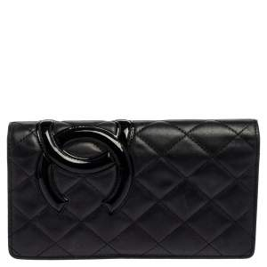 Chanel Black Quilted Leather Cambon Ligne Yen Long Wallet