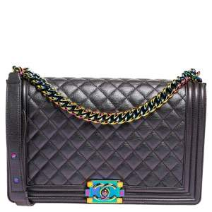 Chanel Metallic Quilted Iridescent Leather New Medium Boy Flap Bag