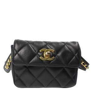 Chanel Black Quilted Leather Vintage Waist Bag
