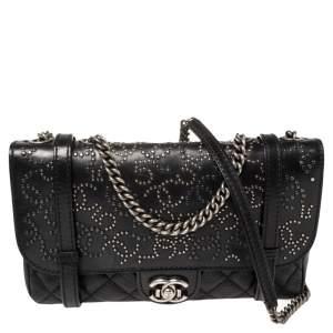 حقيبة شانيل باريس دالاس جلد أسود مبطن بقلاب