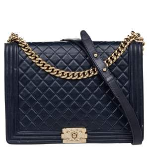 Chanel Navy Blue Quilted Glazed Leather Large Boy Flap Bag