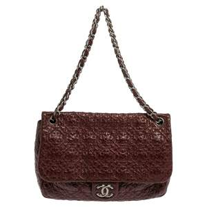 Chanel Red Wine Vinyl Rock in Moscow Jumbo Classic Flap Bag