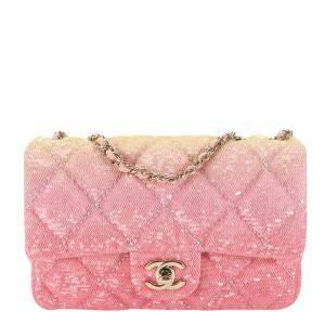 Chanel Pink Ombré Sequin Single Flap Bag
