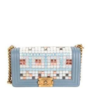 Chanel Blue Limited Edition Tile Brasserie Mosaic Boy Medium Bag