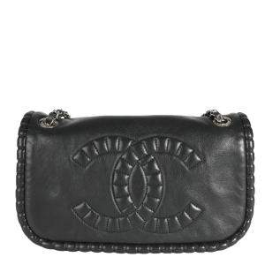 Chanel Black Leather On The Bund Flap Bag