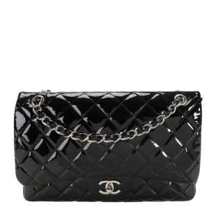 Chanel Black Patent Leather Classic Jumbo Double Flap Bag