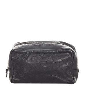 Chanel Black Quilted Lambskin Leather Cosmetic Pouch