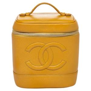 Chanel Yellow Leather Timeless CC Vanity Bag