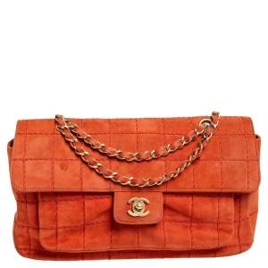 Chanel Orange Stitch Square Quilted Suede Single Flap Bag