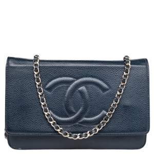 Chanel Blue Leather Timeless Chain Clutch