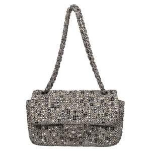 Chanel Monochrome Tweed Embellished Flap Bag