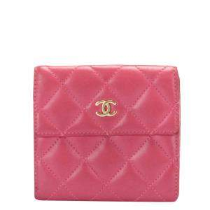 Chanel Pink Quilted Lambskin Leather Small Wallet