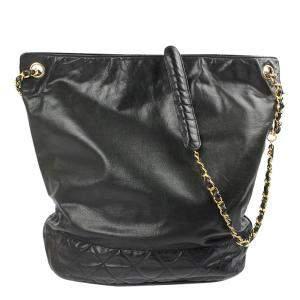 Chanel Black Leather Vintage Bucket Bag
