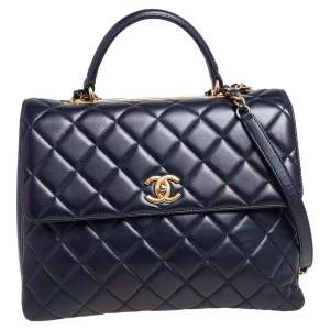 Chanel Blue Quilted Leather Trendy CC Large Top Handle Bag