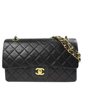 Chanel Black Lambskin Leather Double Flap Bag