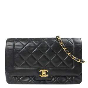 Chanel Black Lambskin Leather Diana Bag