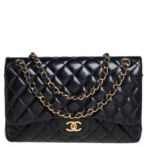 Chanel Black Quilted Lambskin Leather Jumbo Classic Double Flap Bag