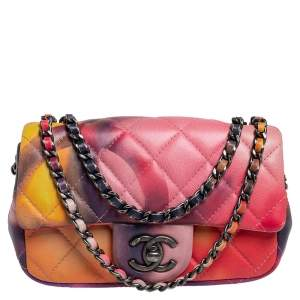 Chanel Multicolor Quilted Leather Extra Mini Classic Flower Power Flap Bag