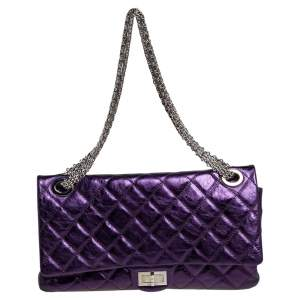 Chanel Metallic Purple Quilted Leather Reissue 2.55 Classic 228 Flap Bag