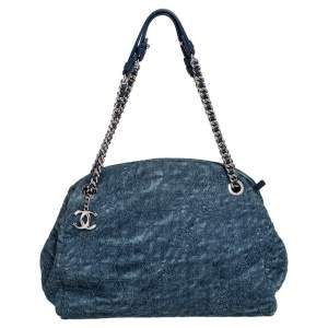 Chanel Blue Camellia Embroidered Denim and Leather Large Just Mademoiselle Bowler Bag