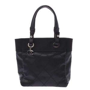 Chanel Black Coated Canvas Paris Biarritz Small Tote Bag