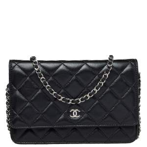 Chanel Black Quilted  Leather Classic Wallet on Chain