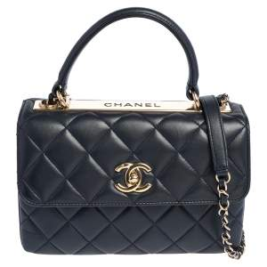 Chanel Navy Blue Quilted Lambskin Leather Small Trendy CC Flap Top Handle Bag