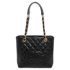 حقيبة يد توتس شانيل شوبر جلد كافيار مبطنة سوداء صغيرة