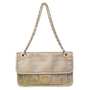 Chanel Gold Perforated Leather Timeless Shoulder Bag
