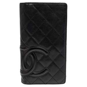 محفظة شانيل طويلة كيمبون لين ين جلد مبطنة سوداء