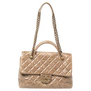 Chanel Beige Quilted Glazed Leather Castle Rock Top Handle Bag