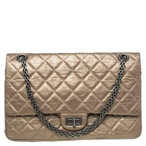 Chanel Metallic Beige Quilted Leather Reissue 2.55 Classic 226 Flap Bag