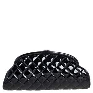 Chanel Black Quilted Patent Leather Timeless Clutch