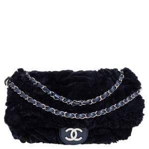 Chanel Navy Blue Rabbit Fur and Leather Single Flap Bag