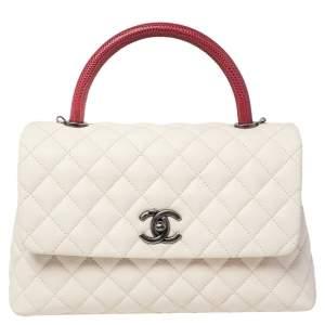 حقيبة شانيل كوكو جلد كافيار مبطن أبيض / أحمر وجلد سحلية صغيرة بيد علوية