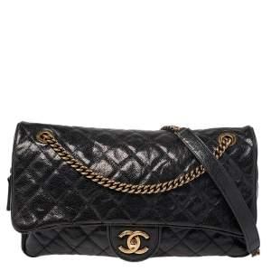 Chanel Black Glazed Caviar Leather Jumbo Easy Flap Bag