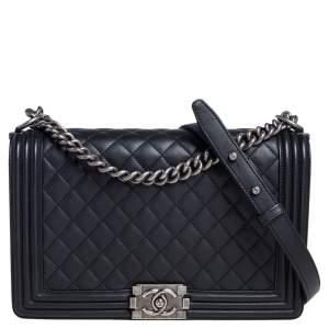 حقيبة يد شانيل بوي جلد مبطن أسود متوسطة بقلاب