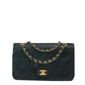 Chanel Black Leather Vintage Double Flap Bag