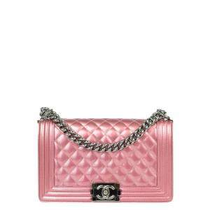 Chanel Pink Patent Leather Boy Flap Bag