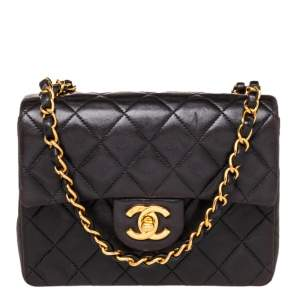 Chanel Black Quilted Leather Mini Square Classic Flap Bag