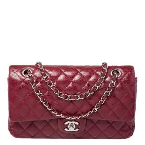 Chanel Red Quilted Caviar Leather Medium Classic Double Flap Bag