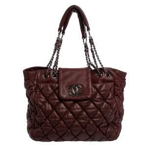 Chanel Burgundy Quilted Leather Bubble Shoulder Bag