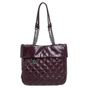 Chanel Burgundy Quilted Leather Ultimate Stitch Leather Tote